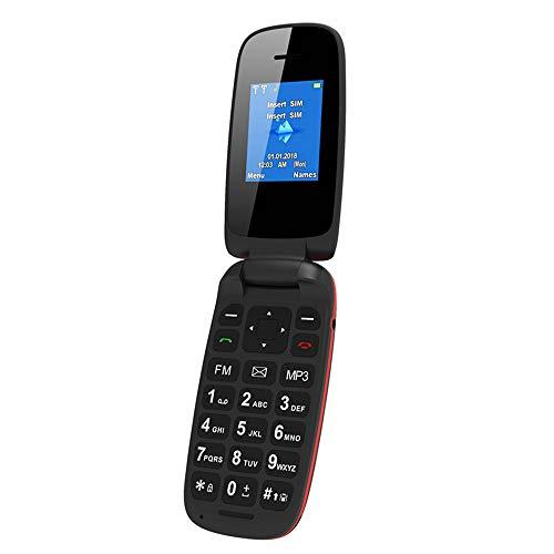 Mini teléfono móvil con tapa para teléfono móvil compatible con doble tarjeta Bluetooth, modo de espera dual, fácil de operar, adecuado para ancianos y niños.