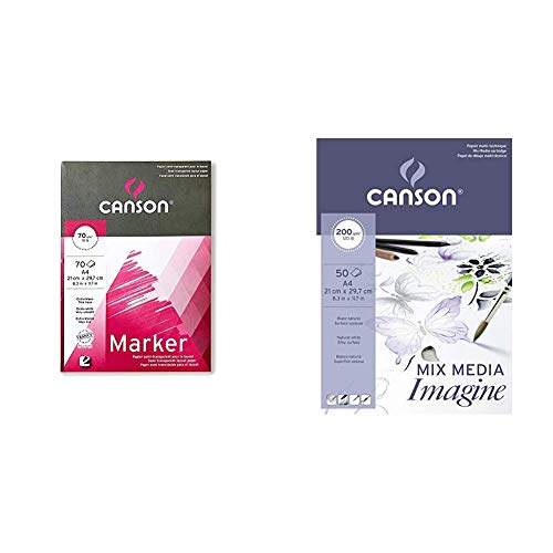 canson Bloc Encolado, A4, 70 Hojas, Marker Layout Extraliso 70g + colado, A4, 50 Hojas, Imagine, Grano Fino 200g