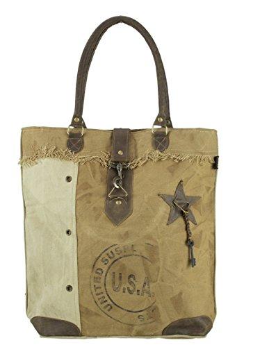 donna Borse a mano Borsa annata a tracolla in tela stile militare 43x43x10 cm 1697