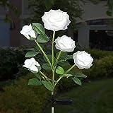 Luces Solares de Flores de Rosas, ZVO 1 Piezas 5 LED Luces Solares Exterior Jardín, IP65 Lampara de Jardín de Rosas Al Aire Libre, Iluminación Decorativa para Jardín/Patio/Entrada/Caminos(Blanco)