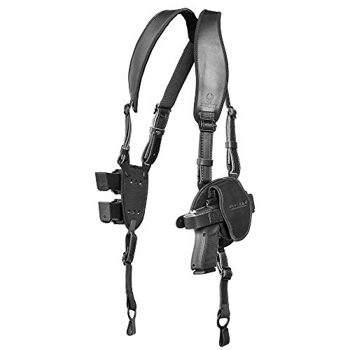 Alien Gear holsters ShapeShift Shoulder Holster (Black Leather) Sig P365 (Right Handed) (9mm/.40 Cal Double Stack)