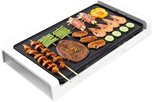 Elektrische grill, BBQ Elektrische barbecue huishoudelijke elektrische oven rookloze elektrische grillpan multifunctionele verwijderbare teppanyaki-plaat, wit