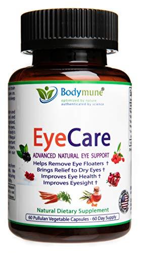 Natural Eye Care Supplement for Eye Floaters Dry Eyes Eyesight Eye Health - Safe Synergistic Blend by Bodymune | 60 Day Supply - Organic Vegan Gluten-Free Non GMO