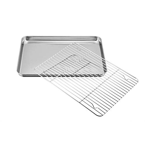 Stainless Steel Baking Sheet with Rack Set Tray Cookie Sheet & Oven Pan Dishwasher Safe Cooling Rack Oven Pan Baking Tray Set Barbecue(measurement:40x30x2.5cm)