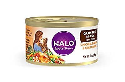 Halo Grain Free Natural Wet Cat Food, Chicken, Shrimp & Crab Recipe, 3-Ounce Can (Pack Of 12)
