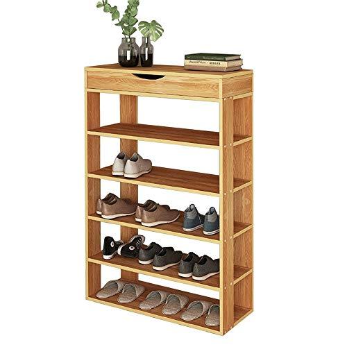 sogesfurniture Holz Schuhregal 5 Ebenen Schuhschrank Schuhablage Standregal Schuhständer für 20 Paar Schuhe, ideal für Diele, Flur, Treppenhaus, 75 x 30 x 94cm, Teak BHEU-L24-TK