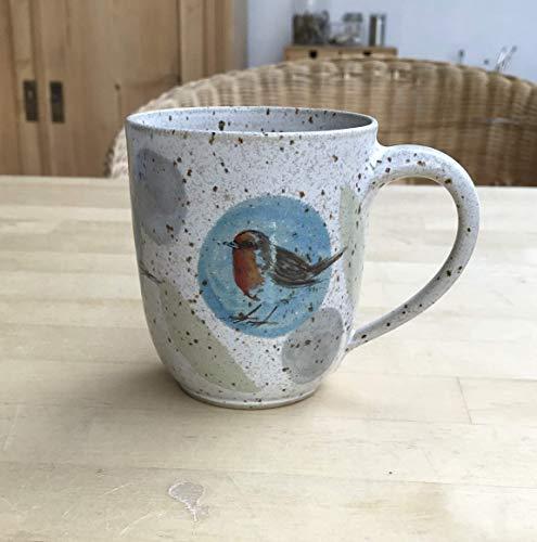 Kaffeebecher, Tasse, ca. 250ml, Keramik,türkisblau-grün, mit Rotkehlchen, Kohlmeise, Stieglitz, getöpfert