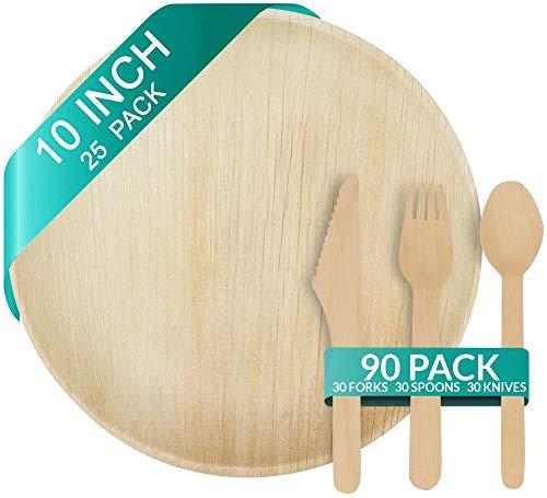 Palm Leaf Teller – Einweg-Geschirr, umweltfreundlich, biologisch abbaubar, besser als Bambus, Papier oder Holz Set (25 Pc Round Plates + 90 Pc cutlery) beige