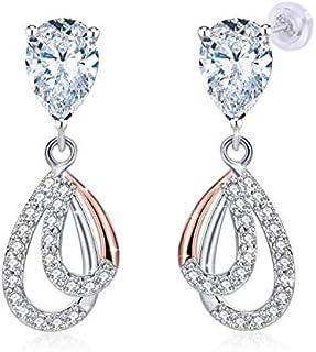 Swarovski Elements Crystal 18K Gold Plated 925 Sterling Silver Studs Earrings for Women Ladies Girls Gift Package J.Rosée ...