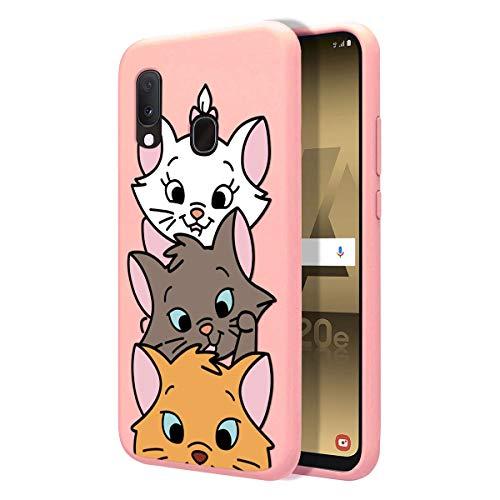 ZhuoFan Cover Samsung Galaxy A20e, Custodia Cover Silicone Rosa con Disegni Ultra Slim TPU Morbido Antiurto 3D Cartoon Bumper Case Protettiva per Samsung Galaxy A20e, 3 Cat