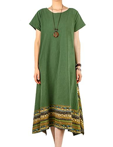 YIYIN Vestido Largos de Verano Dobladillo Irregular Casual 100% Algodón Vestidos Talla Grande Verde XXL