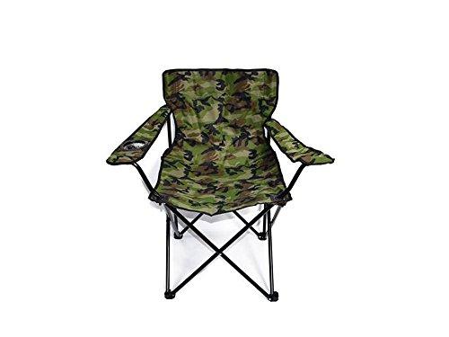 Vetrineinrete Sedia Camouflage Pieghevole e Portatile da Campeggio Mare Spiaggia e Piscina con Foro Porta Bicchiere e Sacca per Il Trasporto da Pesca P20