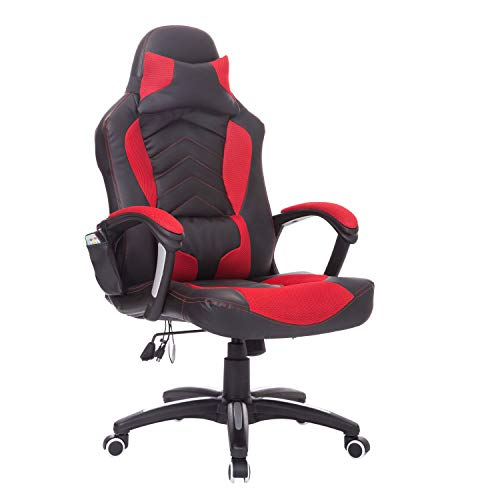 HOMCOM Bürostuhl Massagesessel Gaming Stuhl Wärmefunktion 6 Vibrationspunkte PU Rot 68 x 69 x 108-117cm