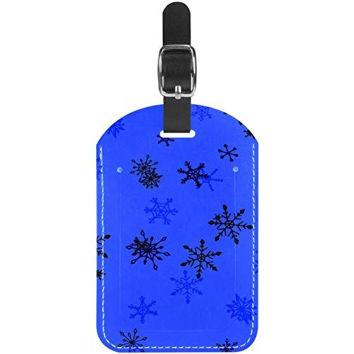 Etiquetas de Cuero para Equipaje, diseño de Copos de Nieve Infantiles, de Viaje, Etiquetas de Maleta, Paquete de 1