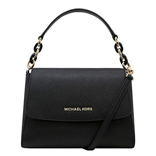 """Saffiano Leather, Chain straps with 6"""" drop; Comes with detachable and adjustable shoulder straps Single Top handle with turtle chain detail in gold; Magnetic snap flap top closure Interior : 2 main compartments, zipped compartment in middle, 1 slip ..."""