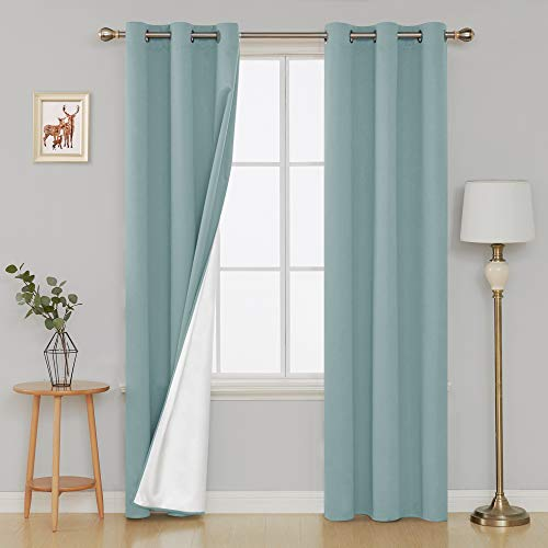 Deconovo Grommet Blackout Curtains Thermal Insulated Light Blocking Drapes with Silver Coated Back for Living Room 42W x 84L Inch Sky Blue 2 Panels