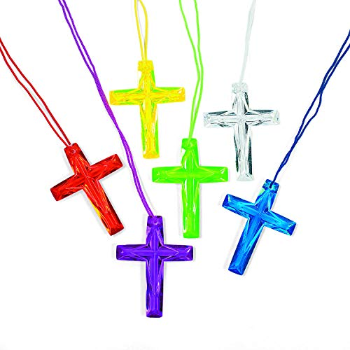 Fun Express Plastic Bright Color Crystal Cross Necklaces (48 pieces) Religious, Sunday School Party Favors and Giveaways