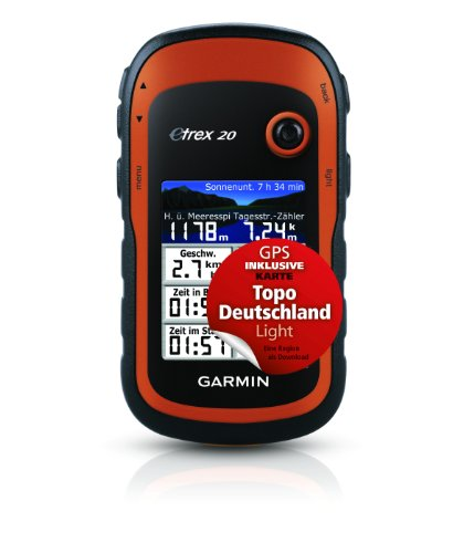 Garmin GPS eTrex 20 Bundle mit Topo Deutschland Light, schwarz/orange, 010-00970-13