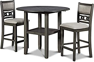 New Classic Furniture Gia Drop Leaf Counter Table with Two Chairs, 42-Inch, 42.25