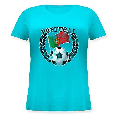 Fußball-Europameisterschaft 2020 - Portugal Flagge & Fußball Vintage - S (44) - Hellblau - Patriot - JHK601 - Lockeres Damen-Shirt in großen Größen mit Rundhalsausschnitt