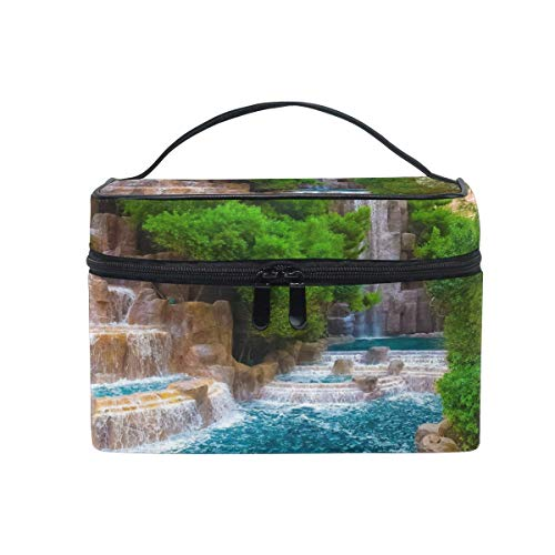 Forest Waterfall Stone Makeup Bag Portable Travel Cosmetic Bag Organizer Toiletry Bag for Women