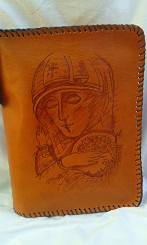 Funda de Cuero para Biblia de Jerusalen Grabado Virgen con Niño