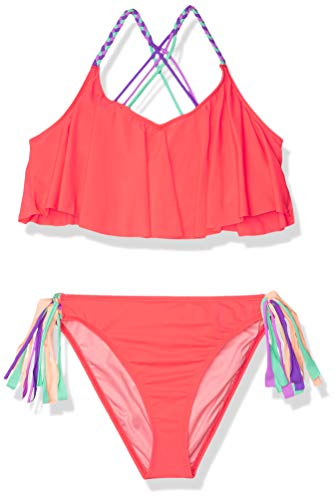 Heart And Harmony Girls' Strappy Flounce Top and Macrame Hipster Bottom Bikini Swimsuit Set, Watermelon//Hombre Sweet Hombre, 10