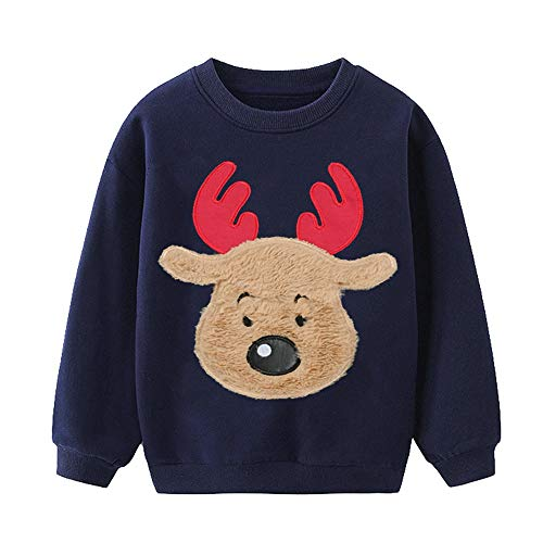 EULLA Jungen Weihnachtspullover Rentier Sweatshirt Geschenk Kinder Langarm Dinosaurier T-Shirt Tops Rundhals Pullover Hoodies Casual Outfit Kleidung Alter 1-7 Jahre Gr. 104, 2#Hirsch Marineblau