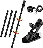 Barcetine Flag Pole Kit, 4FT Flag Pole & Bracket Used for House Porch Outdoor, Tangle Free Black Flagpole with Black Flag Pole Holder Wall Mounting Bracket