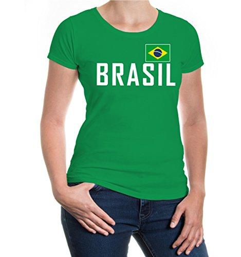 buXsbaum Damen Girlie T-Shirt Brasilien | Brasil Brazil Amerika Ländershirt Fanshirt Flagge Trikot Reise | M, Grün