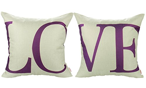 Luxbon 2Pcs Funda Cojines 45x45 Sofá Love Púrpura Lino Duradero Fundas de Almohada para Coche Cama Hogar Decoracion Regalos de San Valentín
