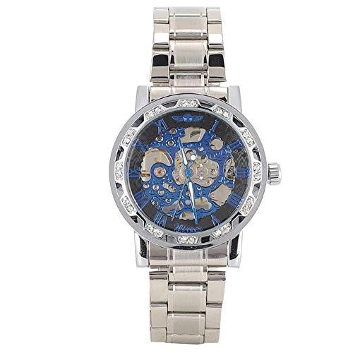 GJHBFUK Reloj de Hombre Moda Impermeable Hombre Dial Redondo Hueco Reloj Automático Mecánica Reloj De Rhinestone Decoración Romano Reloj Azul Dial