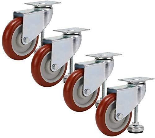 MKXF Ruedas giratorias de 4 Ruedas, Ruedas de Soporte Ajustable Pesado de 4 Pulgadas / 5 Pulgadas, Carga estática de 4 Ruedas 400 kg, para Muebles Pesados, vitrinas, Equipos e Instrumentos