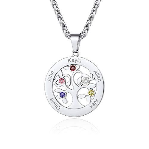 Custom4U Edelstahl Namenskette mit 5 Namen und Geburtsstein Halskette Rundformig Namen Damen Lebensbaum mit Gravur Familie Halskette Mit Geburtsstein für Damen/Frauen
