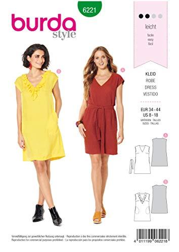 Burda Schnittmuster, 6221, Kleid selber nähen [Damen, Gr. 34-44] Level 2 für Anfänger