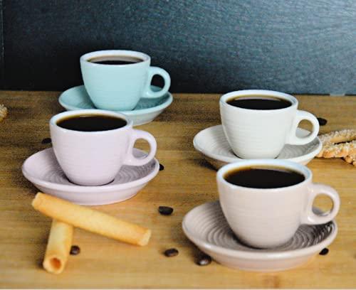 Espressotassen Set pastell mit Untersetzer | 4er Set | 5 cm | unifarben aus Porzellan
