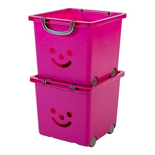 Iris Ohyama, set - 2 grandes boîtes de rangement pour jouet sur roulette - Smiley Kids Boxes - KCB-32, violet, 25 L, 32 x 33 x 29 cm