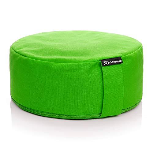 BODYMATE Yogakissen rund 31cm Durchmesser 13cm hoch Grün mit Buchweizen-Spelz Füllung – Maschinenwaschbarer Bezug aus 100% extra Dicker Baumwolle – Meditationskissen – Sitzkissen