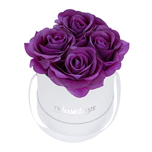 Relaxdays Rosenbox rund, 4 Rosen, stabile Flowerbox weiß, 10 Jahre haltbar, Geschenkidee, dekorative Blumenbox, lila