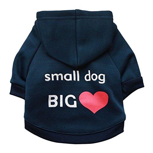YiJee Animale Domestico Abbigliamento con Cappuccio Stampa T-Shirts Cucciolo Cane Gatto Felpe con Cappuccio Navy S