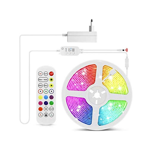 ZHUSHI 15/10/15 M Luces LED Bluetooth con Luces LED de 12V RGB 5050 Luces de retroiluminación Flexibles con iluminación de Control Remoto de 24 Llaves (Size : 10M)