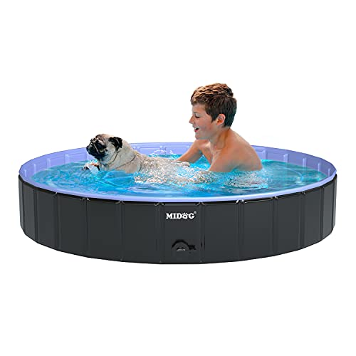 MIDOG Dog Pools, Kid Pools for Backyard, Foldable Kiddie Pool for Kids, Hard Plastic Pool Pet Pool, Collapsible Dog Swimming Pool for Toddles Small Dogs and Cats