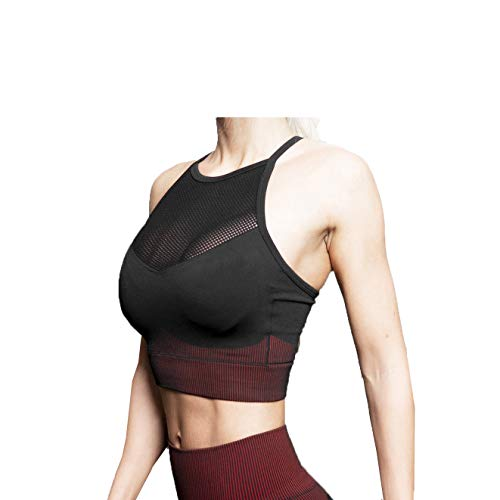 HAOXUAN Sujetador Deportivo De Yoga Mujer Fitness Seco Transpirable A Prueba De Golpes Gasa Cruzada Costura Ropa Interior Deportiva,Rojo,XS