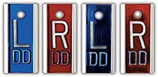 X-Ray Markers, Aluminum, Personalized 2-3 Initials, Vertical, Blue & Red, Copper Filtered, 2 Left & Right Sets