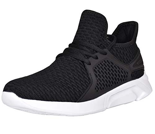 CrossHatch Herren Schnürschuhe Läufer leicht flach Sneaker Größe 40-12, Schwarz - Schwarz - Größe: 41.5 EU