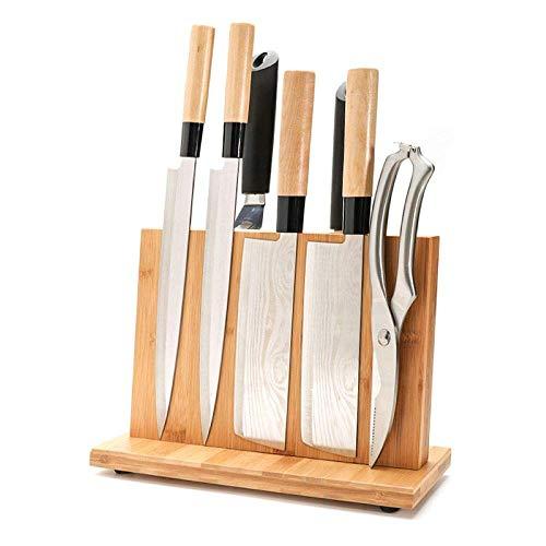 KTDT Porte-Couteau magnétique avec Aimant Puissant, Grand Bloc de Couteaux en Bois de Bambou sans Couteaux, Bloc de Couteaux Universel Double Face, 30 CM