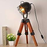 Lámparas de mesa de trípode pequeñas industriales vintage para sala de estar...