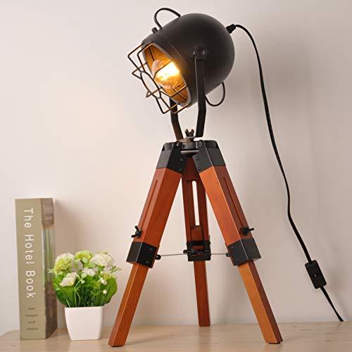 Lámparas de mesa de trípode pequeñas industriales vintage para sala de estar dormitorio, lámpara de lectura de pie reflectora, luces de foco náutico con pata de madera de metal para estudio y oficina