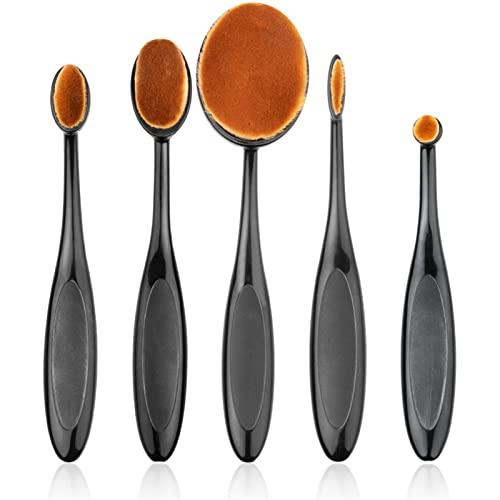 lkpoijuh Brosses de Maquillage Ovale 5 pcs Portable Brosse à Dents Ovale Outil de Nylon Ovale (Color : Black)