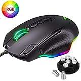 PICTEK Ratón Gaming RGB Alámbrico USB, Esports PMW3327 con 10 Botones Programables, Pesas Desmontables, Botón de Francotirador y Disparo, Ratón Gamer para Juegos FPS/MOBA/MMO